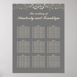 Grau und der Atem-Hochzeits-Sitzplatz-Diagramm des Poster