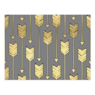 Grau und Imitat-Goldpfeil-Muster Postkarte