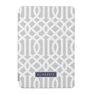 Grau und Marine-Gitter-Gewohnheits-Monogramm iPad Mini Cover