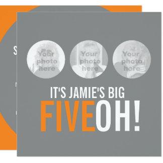 Grau und Orange 50. FIVEOH! Fotogeburtstag laden Quadratische 13,3 Cm Einladungskarte
