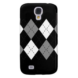 Grau und Weiß auf schwarzem Kasten der Rauten-iPho Galaxy S4 Hülle