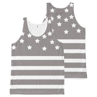 Grau und Weiß-Sterne u. Streifen Komplett Bedrucktes Tanktop