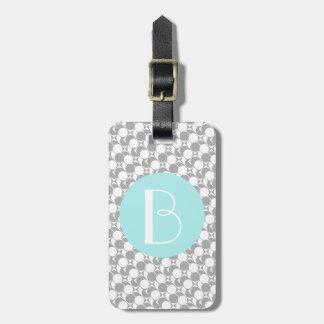 Grau/Weiß/das geometrische Aqua, Monogramm, Gepäckanhänger