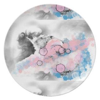 Graue, blaue und rosa träumerische Melamin-Platte Teller
