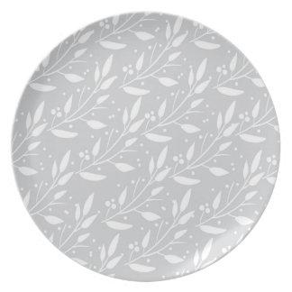 Graue Blumenessgeschirr-Platte Melaminteller