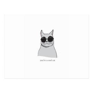 "Graue ""coole Katze"" Valentinstagkarte Postkarte"