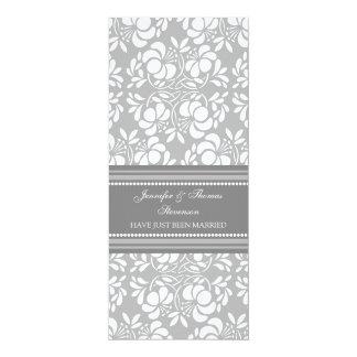 Graue Damast-gerade verheiratete 10,2 X 23,5 Cm Einladungskarte