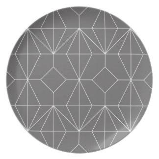 Graue Diamant-Platte Teller