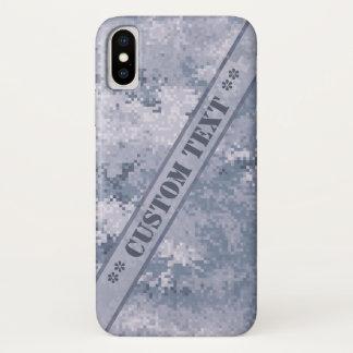 Graue Digi Camouflage mit kundenspezifischem Text iPhone X Hülle