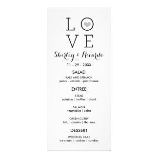 Graue einfache Liebe-Wedding Menü-Karten Werbekarte