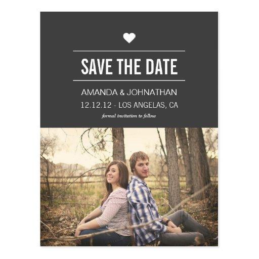 Graue Entwurfs-Foto-Save the Date Postkarten