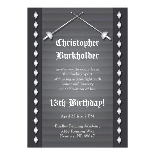 Graue fechtende Geburtstags-Party Einladung