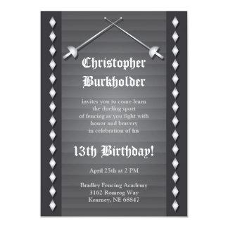 Graue fechtende Geburtstags-Party Einladung 12,7 X 17,8 Cm Einladungskarte