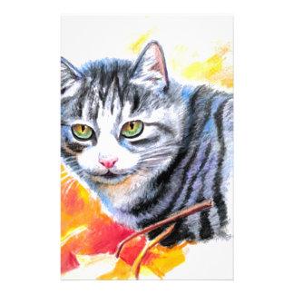 Graue gestreifte Katze Briefpapier
