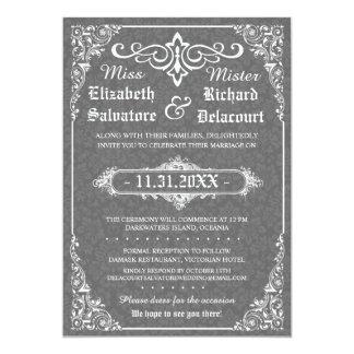 Graue gotische viktorianische Damast-Hochzeit lädt Karte