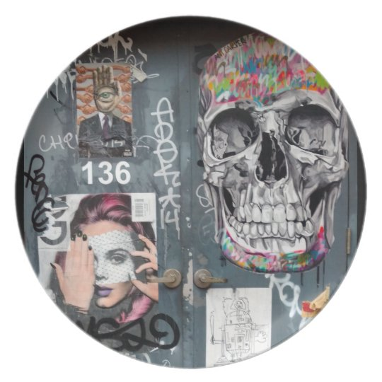 Graue Graffiti-Platte Melaminteller
