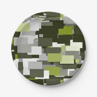 Graue grüne städtische Tarnung Pappteller