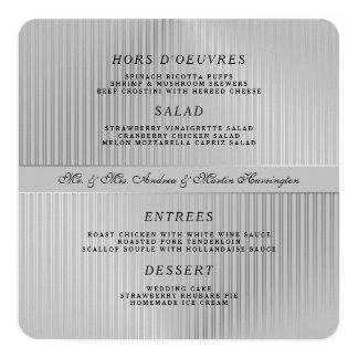 Graue Hochzeits-Menü-Schablone um oder Quadrat Quadratische 13,3 Cm Einladungskarte