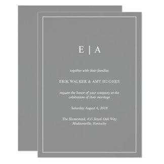 Graue Hochzeitseinladung des minimalen Monogramms Karte