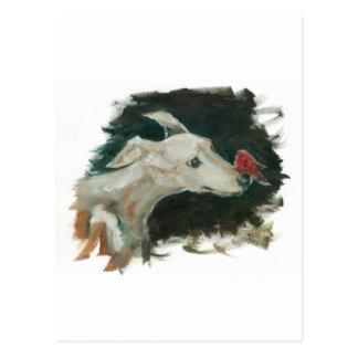 graue Jagdhund- und Finkmalerei! Postkarte