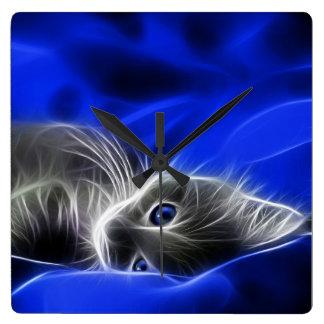 Graue Kätzchen-Uhr, durch Mysistergirl Quadratische Wanduhr