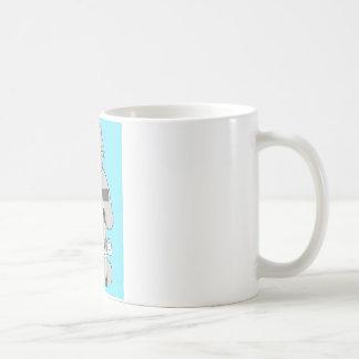 Graue Katze auf Krücke, Kaffeetasse