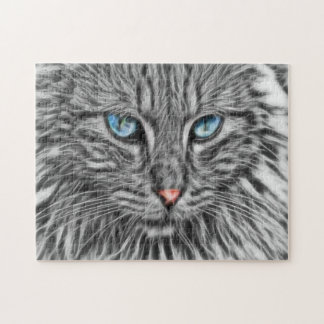 Graue Katze mit blaue Augen-Fraktal-Kunst Puzzle