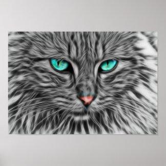 Graue Katzenillustration des Fraktals Poster