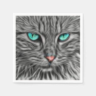 Graue Katzenillustration des Fraktals Servietten