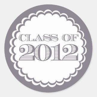 Graue Klasse des 2012 Strudel-Abschluss-Aufklebers Runder Aufkleber