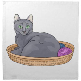 Graue Korb-Katze Stoffserviette