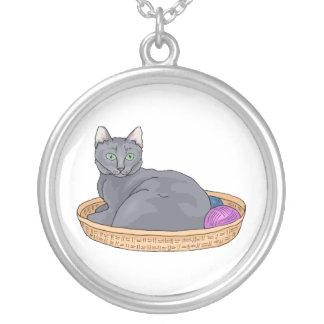 Graue Korb-Katze Versilberte Kette