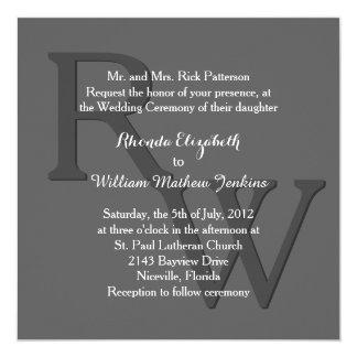 Graue moderne Monogramm-Hochzeits-Einladung Quadratische 13,3 Cm Einladungskarte