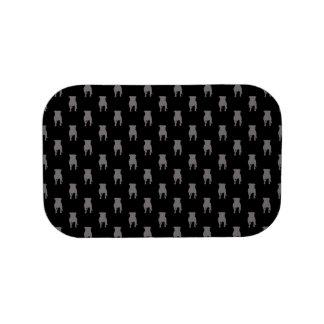 Graue Mops-Silhouetten auf schwarzem Hintergrund Brotdose