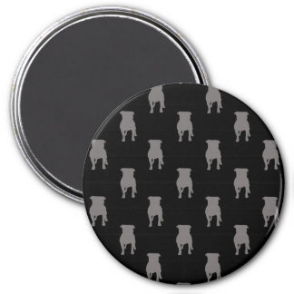 Graue Mops-Silhouetten auf schwarzem Hintergrund Runder Magnet 7,6 Cm