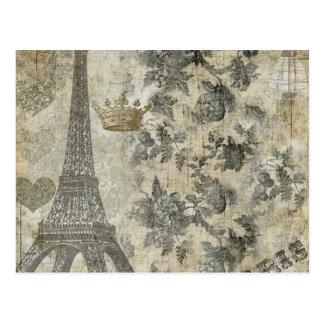 Graue Pariser Collage Postkarte