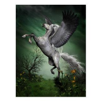 Graue Pegasus-Postkarte Postkarte