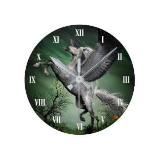 Graue Pegasus-Wanduhr Runde Wanduhr