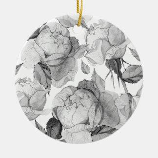 graue Pfingstrose Keramik Ornament
