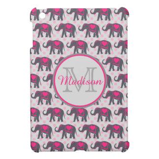 Graue Pink-Elefanten auf rosa Tupfen, Name iPad Mini Hülle