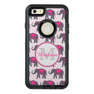 Graue Pink-Elefanten auf rosa Tupfen, Name OtterBox iPhone 6/6s Plus Hülle