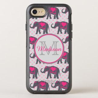 Graue Pink-Elefanten auf rosa Tupfen, Name OtterBox Symmetry iPhone 8/7 Hülle