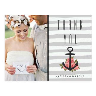Graue romantische Seehochzeit danken Ihnen Foto Postkarten