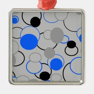 Graue, schwarze und blaue Blasen Quadratisches Silberfarbenes Ornament
