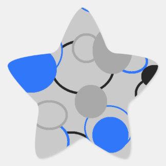 Graue, schwarze und blaue Blasen Stern Aufkleber