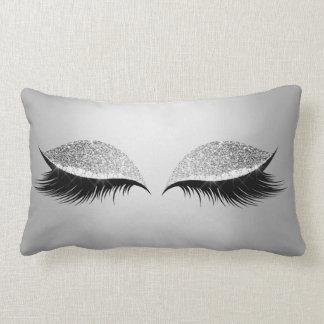 Graue silberne Glitter-schwarze Augen-bezaubernde Zierkissen