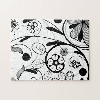 Graue Skala des Blumendamastes Puzzle
