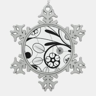 Graue Skala des Blumendamastes Schneeflocken Zinn-Ornament
