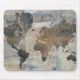 Graue Steinkarte der Welt Mousepads