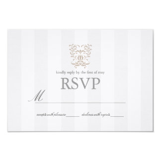 Graue Streifen u. Brown-Damast-Hochzeit UAWG Karte